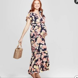 Maternity Floral Maxi Dress - like new